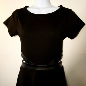 Little Black Dress with Leather Trim Side Opening